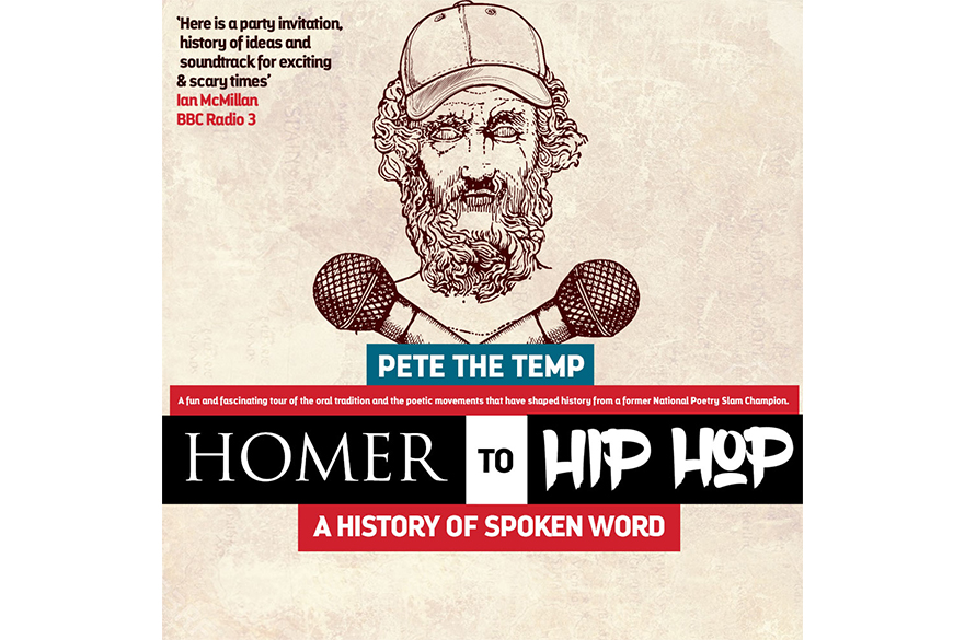 An illustration of a man with a beard in a baseball cap with two microphones underneath his head and the words Homer to Hip Hop underneath.