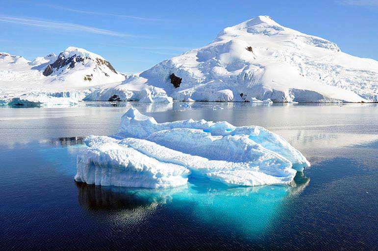 Iceberg in snow covered environment