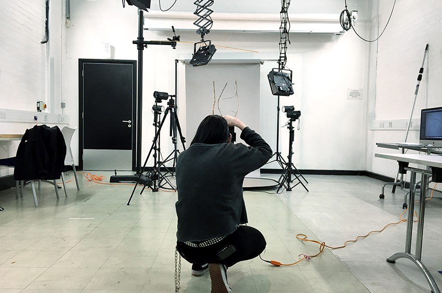 Student working in one of the studios