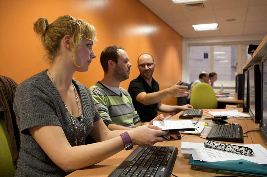 Students using NTU's psychology lab