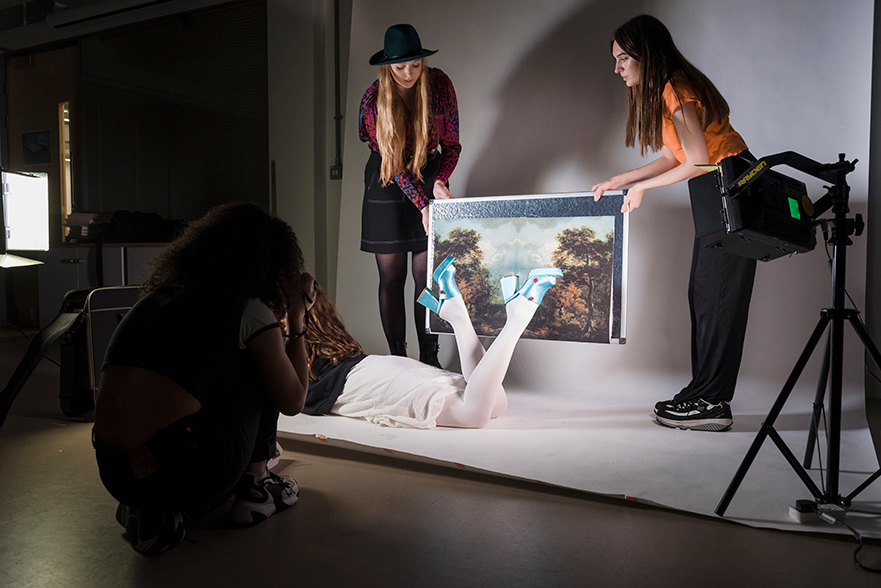 Fashion Communication and Promotion students in our photography studio