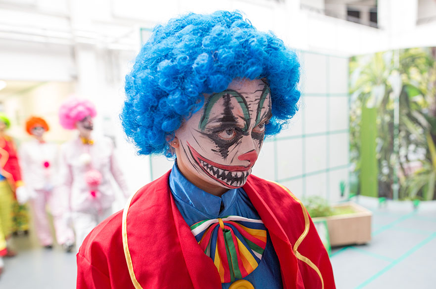 A student dressed as a clown