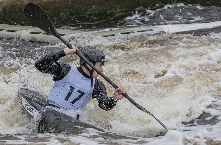 Kayak athlete in action