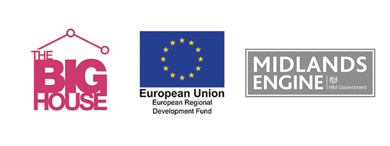 The Big House, ERDF and Midland Engine Logos