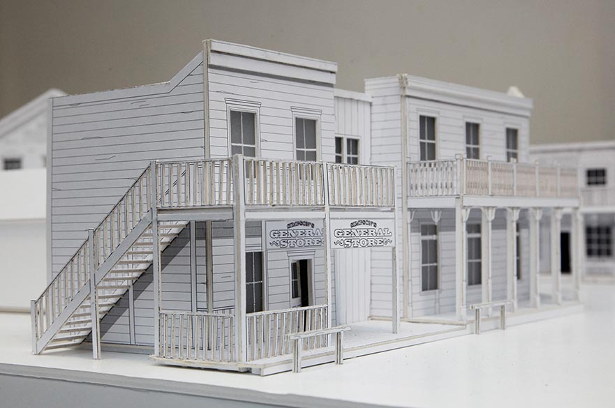 Models of wild west buildings