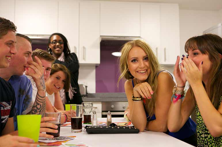 Students in a halls of residence kitchen