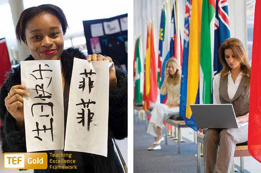 Student holding a piece of paper with Mandarin writing. Woman sat in chair with international flags surrounding her.