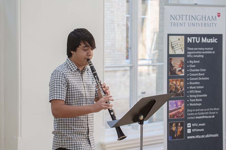 Clarinet player performing at concert