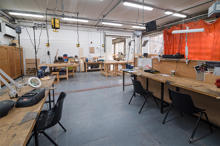 The near benches are for metal jewellery making. The far benches are for woodwork.