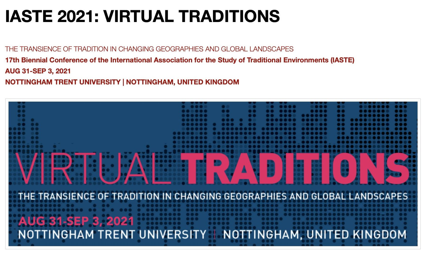 IASTE 2021 Virtual Traditions poster