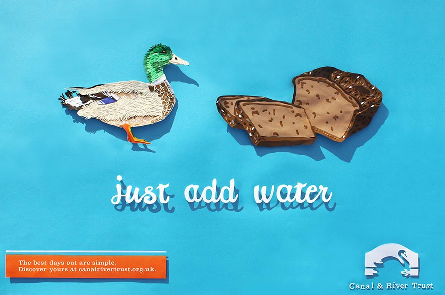 Advert featuring a duck and bread
