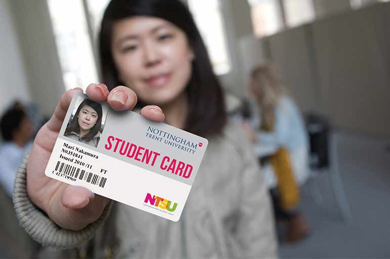 Student with an student card