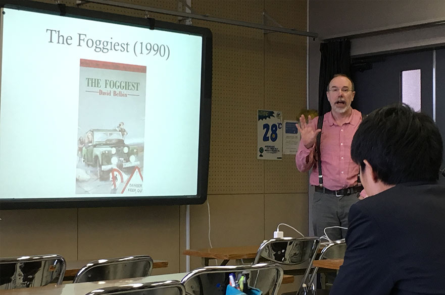 David delivering a workshop at Hiroshima University