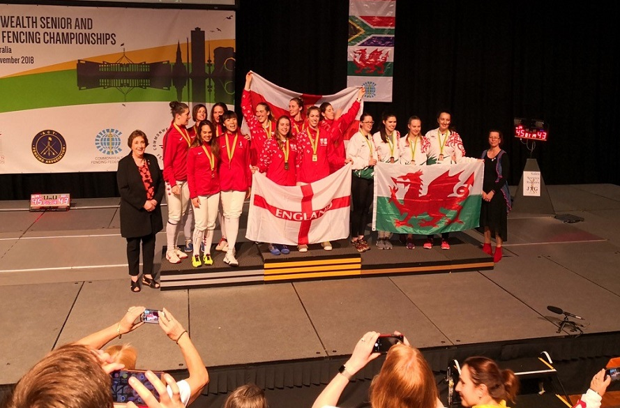 commonwealth england team on podium