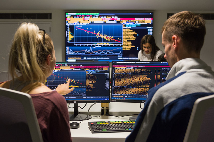 Students working on the Bloomberg terminals in the Nottingham Business School Business Lab on the City Campus at Nottingham Trent University
