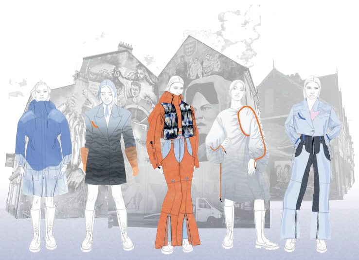 Fashion illustrations - a line up of garments