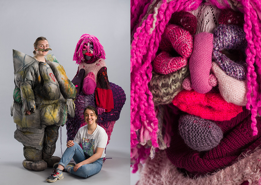 Samantha Hodson's costumes designs. They are oversized and exaggerated in pinks and greens