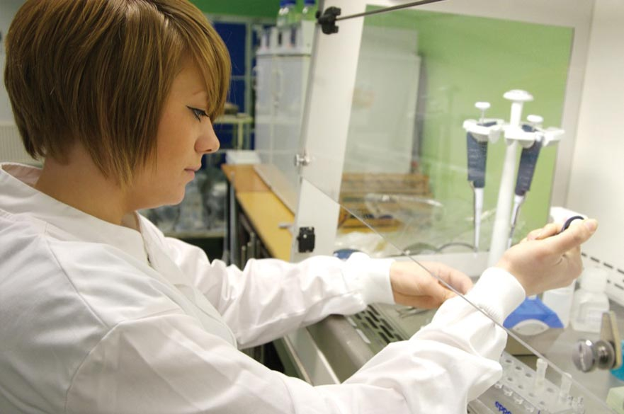 Doctoral student in a lab