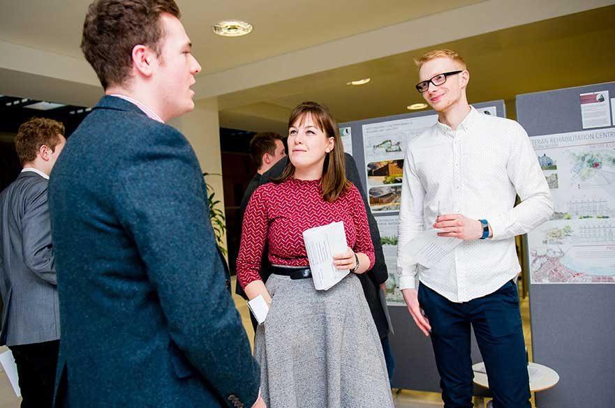 Students networking at our Architectural Exchange event