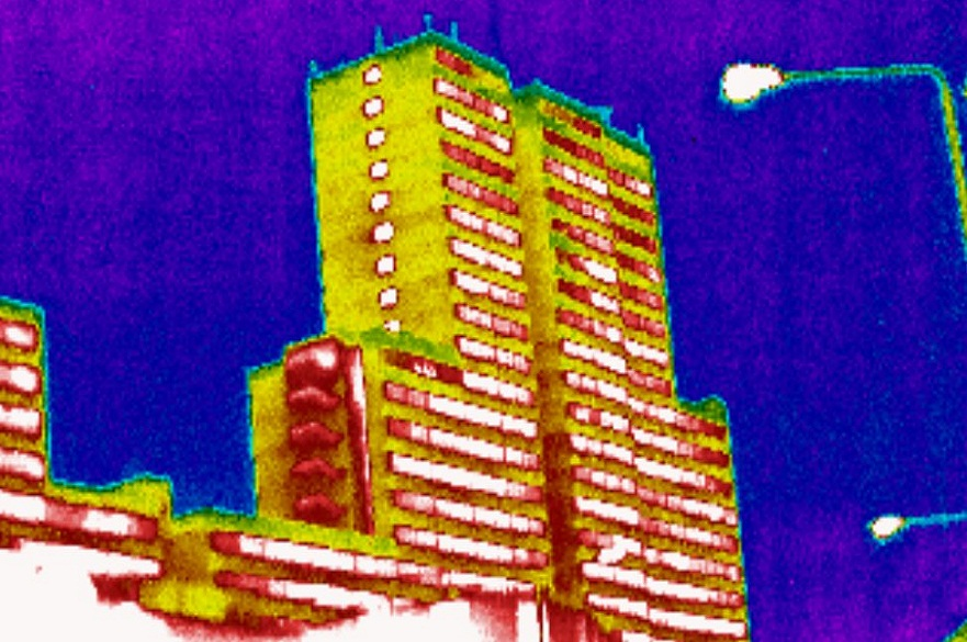 Nottingham's Victoria Centre flats, in infrared light
