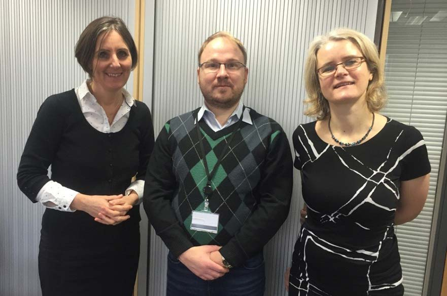 Anto Kasak pictured with Centre members Paula Moffatt and Professor Rebecca Parry