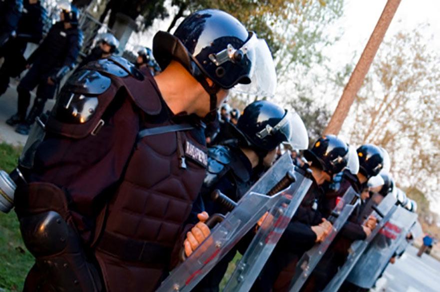 Riot police shields