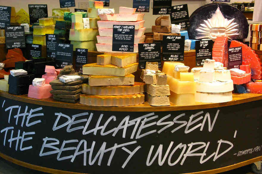 A display of Lush soap bars