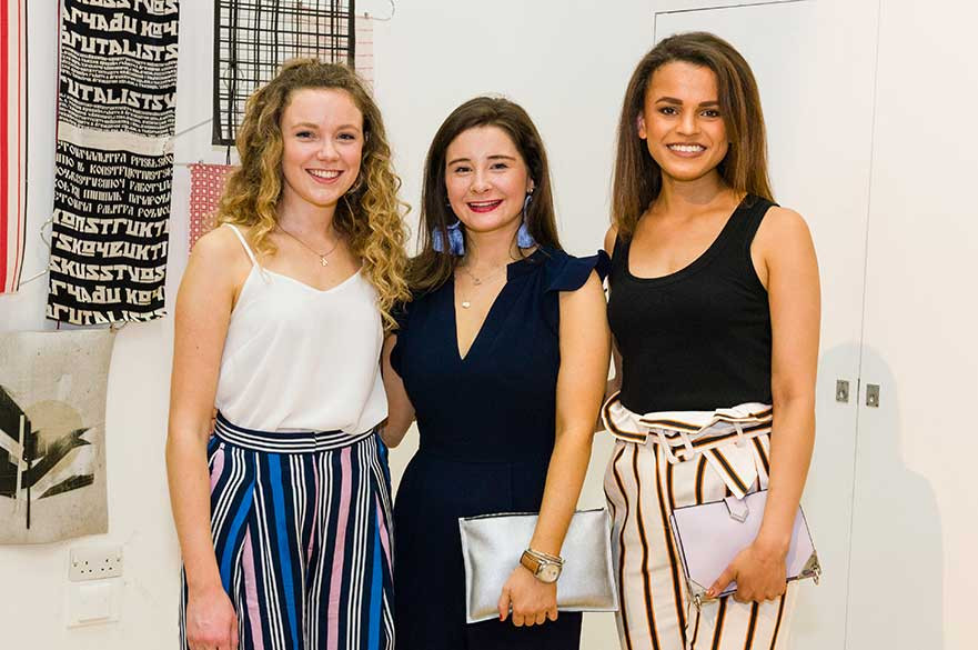 Textile Design students Katie Culpin, Phoebe Bonnel and Katie Small