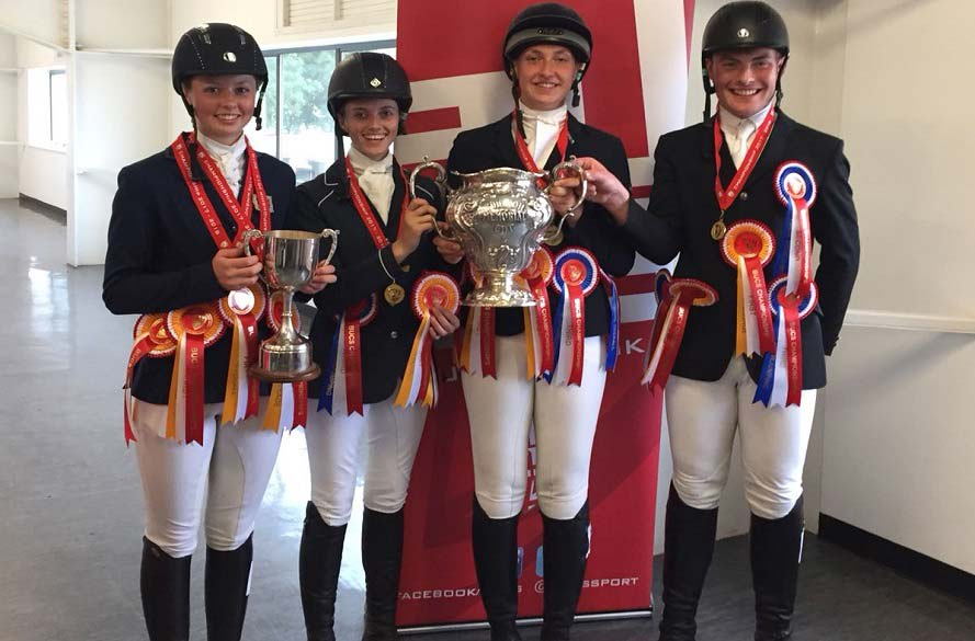 NTU Equestrian team with their trophies