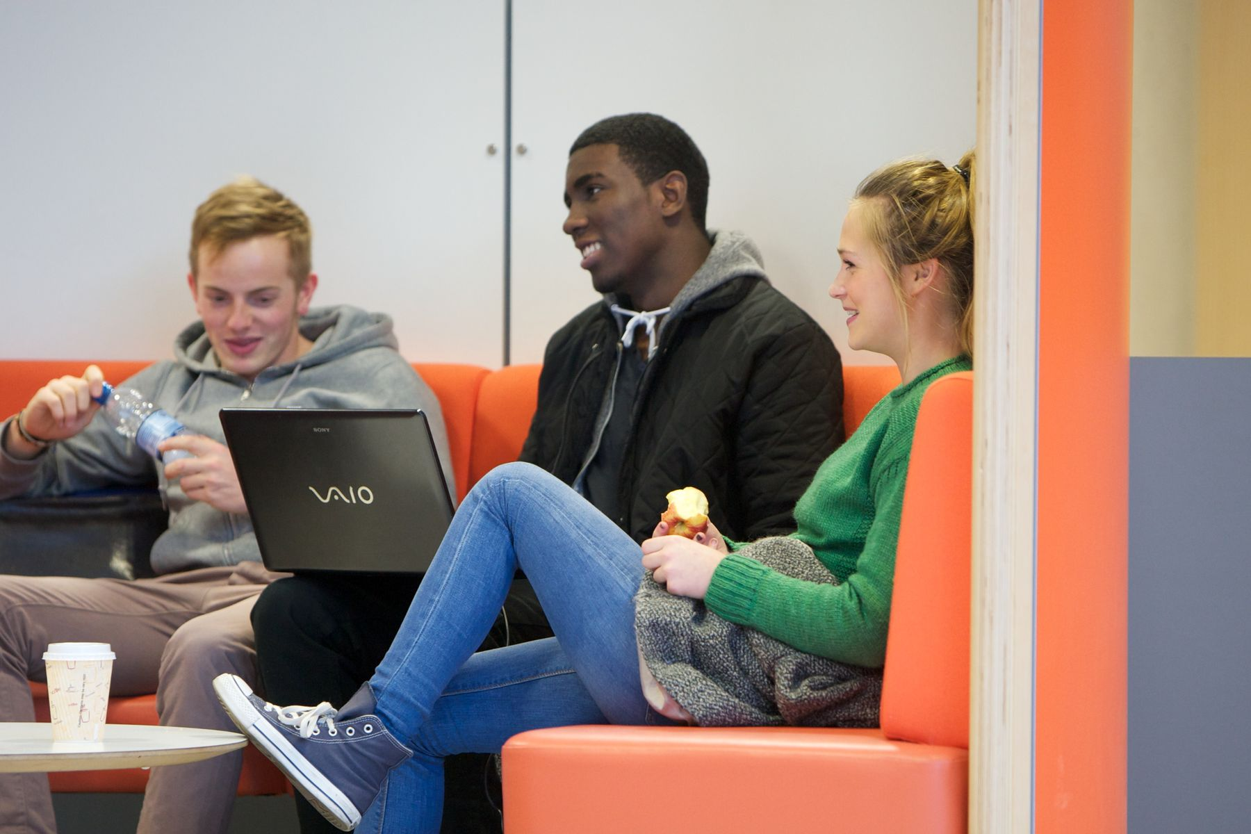 Students in a breakout area