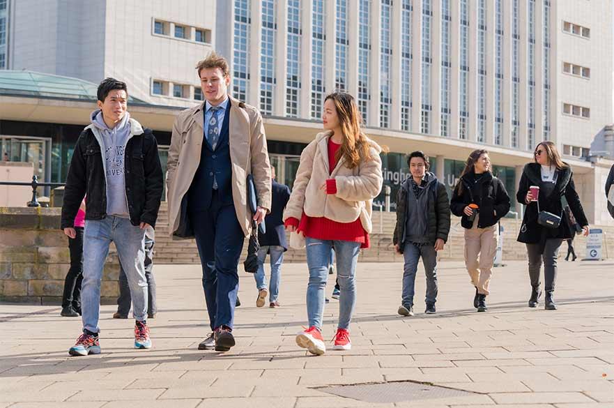 Group walking near Newton
