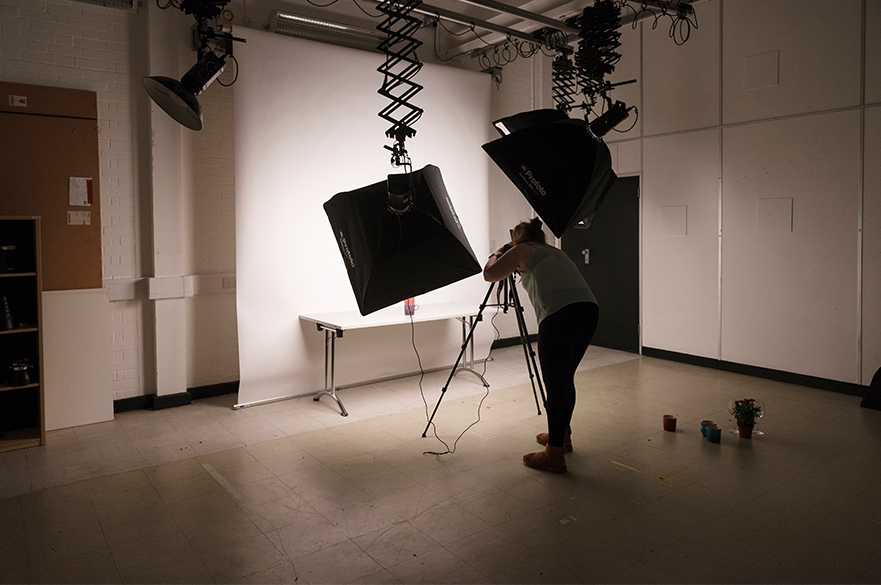 Students working in one of the studios