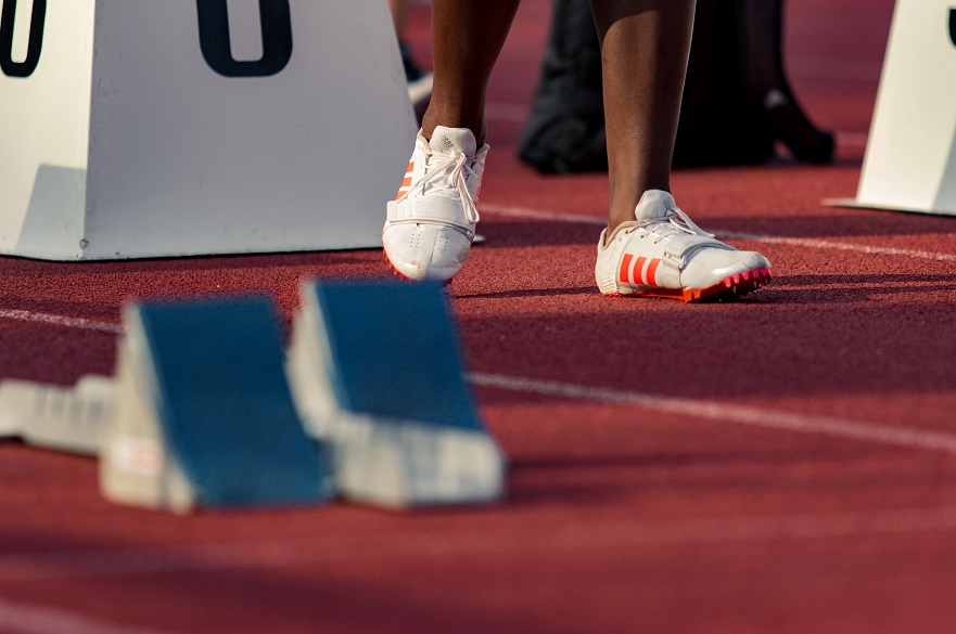 Shoes on a running track