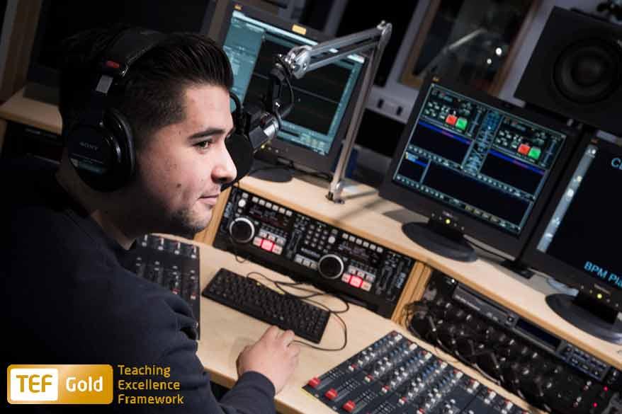Student in radio studio