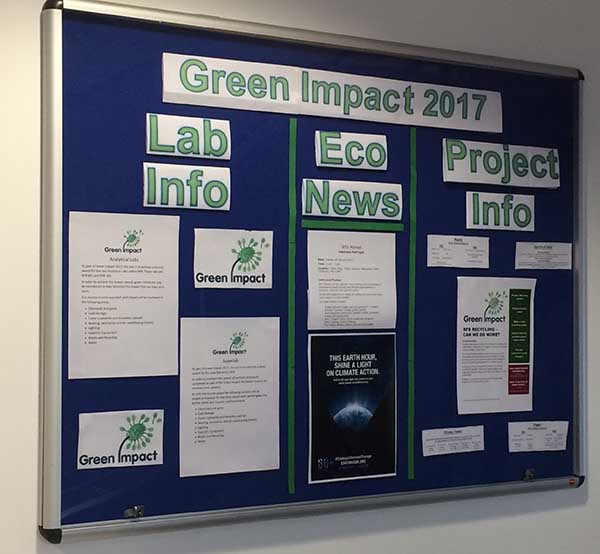 Notice board showing Green Impact info