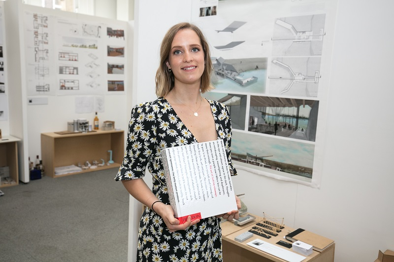 BA (Hons) Interior Architecture Robyn Hutton pictured with her work at #NTUDEGREESHOW