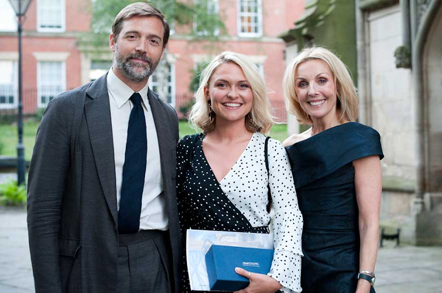 Lead judge Patrick Grant, student Alice Beadle and Anne Davies. Courtesy Rachael Connerton Photography.