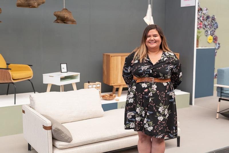 Adele Marie Sison alongside her modular sofa design 'Alessi'