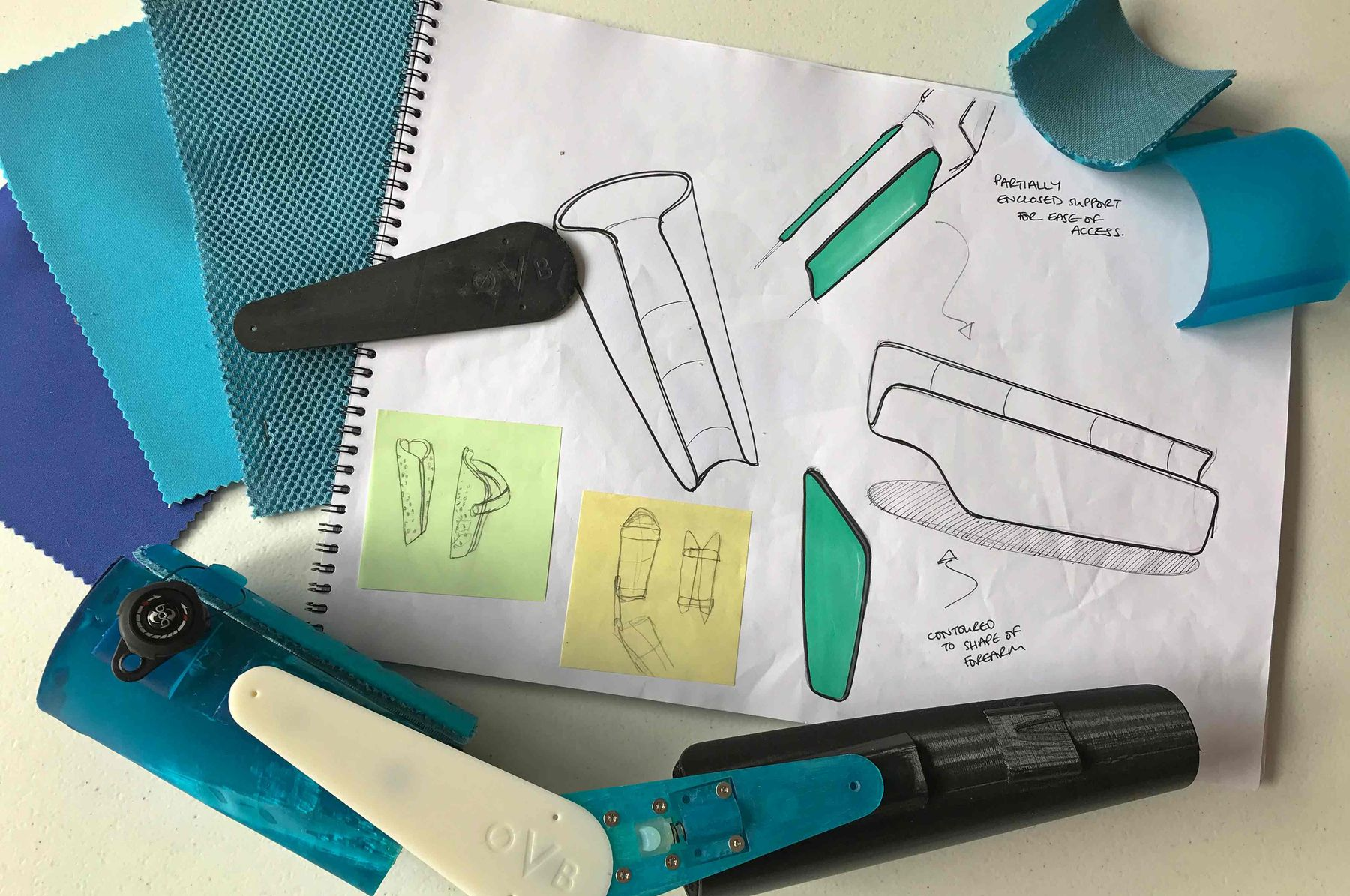 The OVB Arm Brace, Olivia's sketches and layout ideas, BSc (Hons) Product Design, 2019.