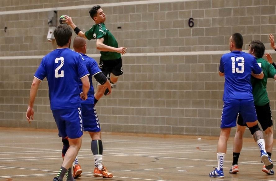 Hanball player in Nottingham kit
