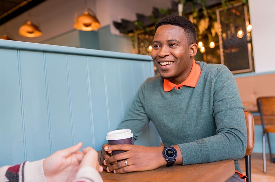 Boy at coffee shop