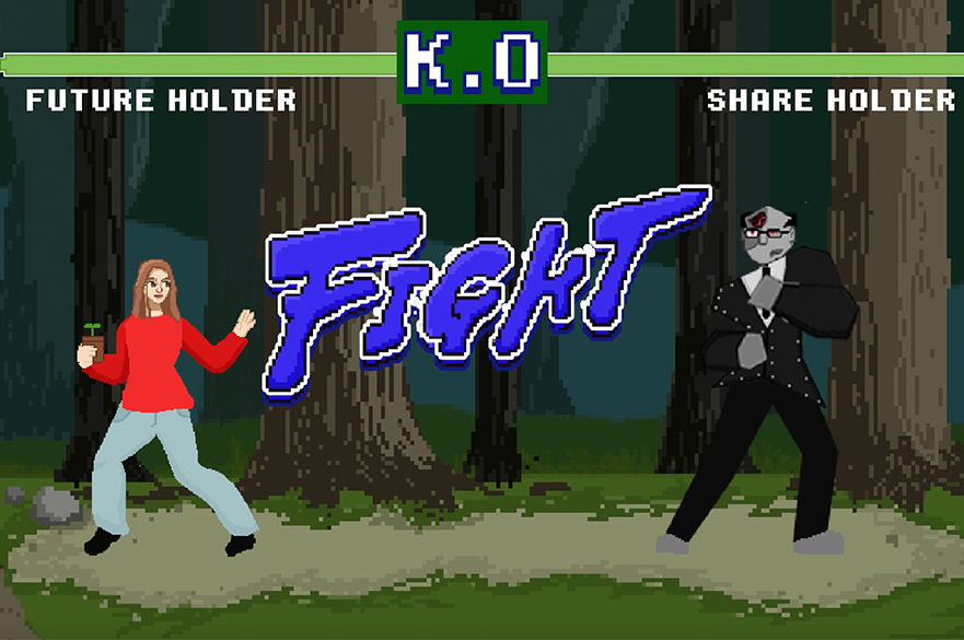 An animated retro style game two characters 'Shareholder' and 'Future Holder' are about to Fight.