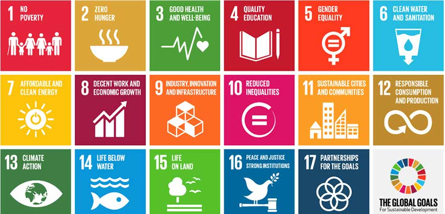 Grid showing the Global Goals for Sustainable Development