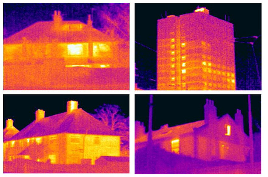 Four building types, in infrared light