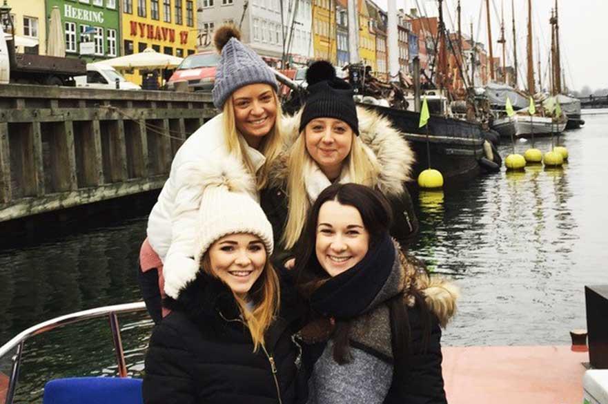 Students at Nyhavn in Copenhagen.