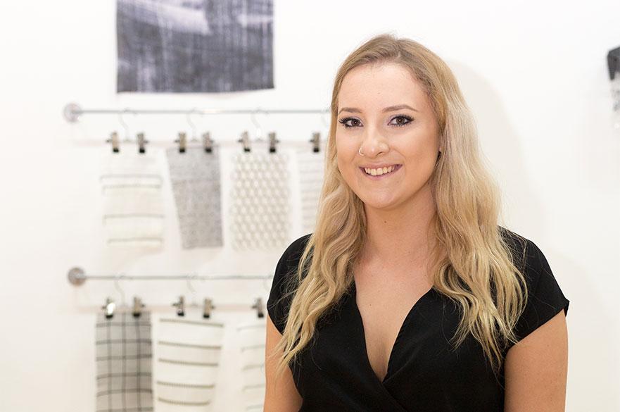 Bethany Faulkner stood in the Bonington Gallery