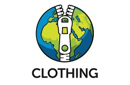 A logo with a zip on the world and the word clothing