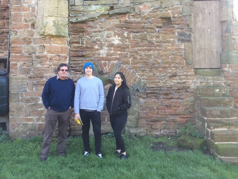 Chair of the DH Lawrence Society, Malcolm Gray and students Stephen Tomlinson and KimNguyen.