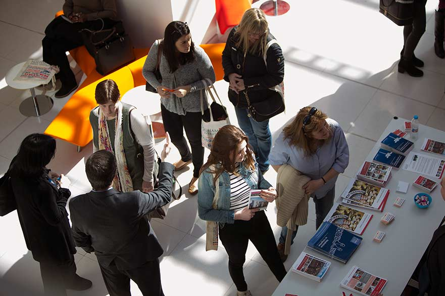 Students at open day stand