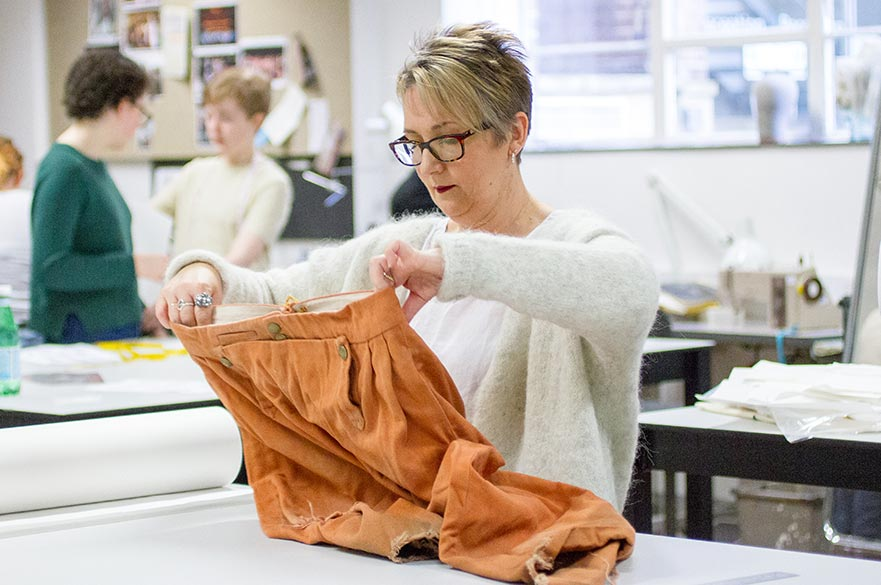 Jo Birkett in the Costume Design studios